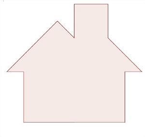 Imagem de uma casa montada com as sete peças do tangram.