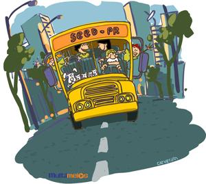 Imagem de um ônibus com crianças e cães dentro.