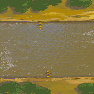 Imagem de rio com barcos em margens opostas