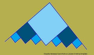 Planificação de um cartão fractal visto de lado. Imagens do processo de obtenção do cartão fractal estão disponíveis nesta página.