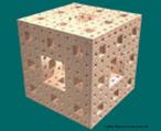 Imagem do cubo de Sierpinski, também conhecido como esponja de Mengue. Trata-se de um cubo fractal. A regra para obtenção desta figura é: divida-se o cubo em 27 cubos iguais, e retenham-se 20 cubos, para que no final tenha uma cruz aberta no interior.
