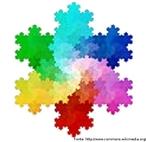 "Estrutura fractal denominada ""floco de neve de Koch""."