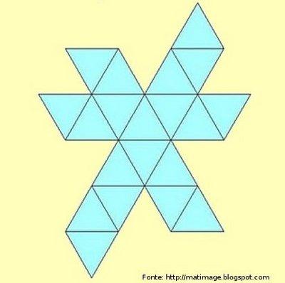 Representação de um icosaedro planificado.