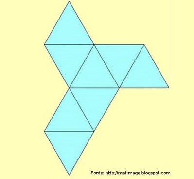Representação de um octaedro planificado.