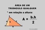 Ilustração contendo os principais elementos para o cálculo da área de um triângulo qualquer em função de sua altura.
