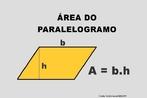 Ilustração contendo os principais elementos para o cálculo da área de um paralelogramo.