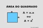 Ilustração contendo os principais elementos para o cálculo da área de um quadrado.