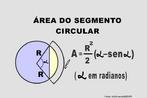 Ilustração contendo os principais elementos para o cálculo da área de um segmento circular.