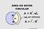 Ilustração contendo os principais elementos para o cálculo da área de um setor circular.
