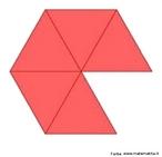 Como se pode justificar o fato dos poliedros regulares serem apenas 5: os triângulos equiláteros só podem ser usados como faces de poliedros dispondo-os 3 a 3 ou 4 a 4 ou então 5 a 5 como nesta figura. A figura posterior, com os triângulos dispostos no espaço também está disponível neste banco.