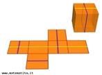 Imagem em que se pode observar um cubo e sua planificação bem como alguns de seus eixos de simetria.