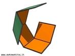 Imagem em que se pode observar uma etapa da montagem de um cubo a partir de uma de suas planifica��es.