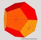 Um dodecaedro regular. As marcas na superfície deste dodecaedro regular representam os seus planos de simetria.