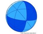 Uma esfera cujos traços sobre a superfície representam os planos de simetria de um octaedro regular.