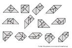 Figuras geométricas planas montadas com o quebra-cabeças tangram tradicional de sete peças.