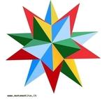 """O estrelamento de um poliedro consiste em estender os planos definidos pelas faces do poliedro até se intersectarem, formando assim um novo sólido. Neste dodecaedro estrelado, as faces são estrelas de 5 pontas, sendo que um braço de cada estrela se encontra, em cada vértice, com dois braços de outras duas estrelas. A figura é um dos quatro poliedros de Kepler Poisont. Esse poliedro pode ser obtidos unindo nos seus vértices (três a três) doze pentágonos regulares estrelados todos iguais, de modo que as """"faces"""" sejam unidas uma à outra ao longo dos seus lados, como nos poliedros usuais, mas de forma que se interceptem escondendo os pentágonos centrais de cada pentagrama. A figura é um dos quatro poliedros de Kepler Poisont."""