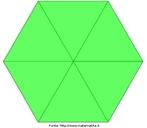 Um hexágono regular com suas diagonais demarcadas. Útil para o estudo dessa figura plana e seus elementos.