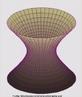 Imagem de um hiperbolóide. Um hiperbolóide é uma superfície de revolução gerada pela rotação de uma hipérbole em torno de um de seus dois eixos de simetria. Estas superfícies são de dois tipos: uma e duas folhas. Essa imagem é de um hiperbolóide de uma folha, ou seja uma só superfície que vai alargando-se em dois sentidos opostos a partir do centro.