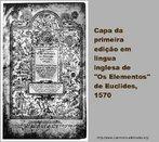 """Capa da primeira edição em Língua Inglesa de """"Os Elementos"""" de Euclides, 1570."""