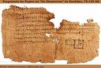 """Fragmento do papiro de """"Os Elementos"""" de Euclides. Data estimada 75-125 AD. Com esta imagem o Professor pode trabalhar a questão da construção humana da ciência Matemática."""