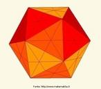 Um icosaedro em que as linhas das faces representam os planos de simetria do poliedro.