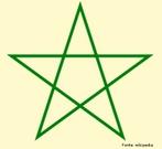 O pentagrama é composto por um pentágono regular e cinco triângulos isósceles congruentes, tal que a razão entre o lado do triângulo e sua base (lado do pentágono) é o número de ouro. O pentagrama foi usado como símbolo da escola pitagórica.