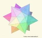 """O estrelamento de um poliedro consiste em estender os planos definidos pelas faces do poliedro até se intersectarem, formando assim um novo sólido. Neste dodecaedro estrelado, as faces são estrelas de 5 pontas, sendo que um braço de cada estrela se encontra, em cada vértice, com quatro braços de outras quatro estrelas. A figura é um dos quatro poliedros de Kepler Poisont. Esse poliedro pode ser obtidos unindo nos seus vértices (cinco a cinco) doze pentágonos regulares estrelados todos iguais, de modo que as """"faces"""" sejam unidas uma à outra ao longo dos seus lados, como nos poliedros usuais, mas de forma que se interceptem escondendo os pentágonos centrais de cada pentagrama."""