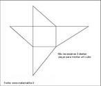 Planificação de um poliedro que serve como peça de um jogo. São necessárias três figuras como esta para montar um cubo.