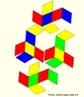 Como fazer um quebra-cabeças. O triacontaedro rômbico pode ser colorido com 5 cores de modo que, em torno de cada vértice onde 5 faces se encontram, estas faces tenham cores diferentes. Há duas maneiras de fazer um paralelepípedo que tenha seis faces iguais aos losangos que são faces do triacontaedro, e ainda 10 maneiras de escolher 3 cores entre as 5 cores dadas. Pode-se reconstruir o triacontaedro rômbico (como se pode ver na imagem) usando estes 20 paralelepípedos, dispondo o paralelepípedo de modo que as faces unidas tenham a mesma cor. A figura mostra as planificações de 4 paralelepípedos. As imagens da planificação do triacontraedro e dos outros paralelepípedos estão disponíveis neste mesmo banco.