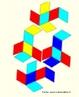 Como fazer um quebra-cabe�as. O triacontaedro r�mbico pode ser colorido com 5 cores de modo que, em torno de cada v�rtice onde 5 faces se encontram, estas faces tenham cores diferentes. H� duas maneiras de fazer um paralelep�pedo que tenha seis faces iguais aos losangos que s�o faces do triacontaedro, e ainda 10 maneiras de escolher 3 cores entre as 5 cores dadas. Pode-se reconstruir o triacontaedro r�mbico (como se pode ver na imagem) usando estes 20 paralelep�pedos, dispondo o paralelep�pedo de modo que as faces unidas tenham a mesma cor. A figura mostra as planifica��es de 4 paralelep�pedos. As imagens da planifica��o do triacontraedro e dos outros paralelep�pedos est�o dispon�veis neste mesmo banco.