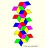 Como fazer um quebra-cabeças. O triacontaedro rômbico pode ser colorido com 5 cores de modo que, em torno de cada vértice onde 5 faces se encontram, estas faces tenham cores diferentes. Há duas maneiras de fazer um paralelepípedo que tenha seis faces iguais aos losangos que são faces do triacontaedro, e ainda 10 maneiras de escolher 3 cores entre as 5 cores dadas. Pode-se reconstruir o triacontaedro rômbico (como se pode ver na imagem) usando estes 20 paralelepípedos, dispondo o paralelepípedo de modo que as faces unidas tenham a mesma cor. A figura mostra as planificações do triacontaedro. As imagens da planificação dos paralelepípedos e do triacontaedro estão disponíveis neste mesmo banco.