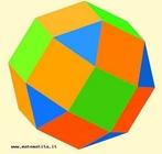 Um poliedro uniforme de tipo (3,4,4,4): em cada vértice pode ver-se um triângulo equilátero, e três quadrados.