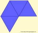 Se pode justificar o fato dos poliedros regulares serem apenas 5 mostrando que as faces só podem ser triângulos, quadrados, ou pentágonos. Os triângulos equiláteros só podem ser usados como faces dispondo-os 3 a 3, 4 a 4 ou 5 a 5. Nesta figura os triângulos estão agrupados 4 a 4 e pode-se obter o octaedro.
