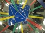 O canudo verde, colocado entre os espelhos que formam entre si um ângulo de 90°, mostra os 6 eixos da rotação de ordem 2 no cuboctaedro (as retas que passam por vértices opostos); o canudo vermelho, colocado entre os espelhos que formam entre si um ângulo de 45°, mostra os 3 eixos de rotação de ordem 4 (as retas passam pelos centros de duas faces quadradas opostas); o canudo amarelo, colocado entre os espelhos que formam entre si um ângulo de 60°, mostra os 4 eixos de rotação de ordem 3 (as retas que atravessam os centros de duas faces triangulares opostas).