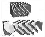 Seccionando um cubo por planos perpendiculares a uma diagonal obtêm-se secções que são triângulos equiláteros ou hexágonos equiângulos (com a mesma simetria de um triângulo equilátero) ou também um hexágono regular.
