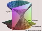 Imagem em que se pode visualizar uma hipérbole e uma circunferência resultantes de secções em um hiperbolóide de uma folha.