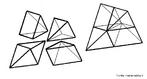 Quatro peças iguais para montar um tetraedro regular. A planificação destas peças esta disponível neste banco.