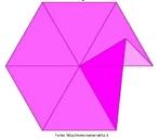 Imagem em que se pode observar que é impossível obter um polígono no plano pela justaposição de sete triângulos equiláteros.