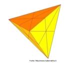 Um tetraedro em que as linhas sobre as faces representam os planos de simetria do sólido.