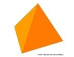 Um tetraedro regular.