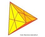 Um tetraedro em que as linhas sobre as faces representam os planos de simetria do s�lido.