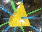 Imagem virtual de um tetraedro obtida a partir de um caleidoscópio. O canudo verde, colocado entre os dois espelhos que formam entre si um ângulo de 90°, mostra os 3 eixos da rotação de ordem 2 em um tetraedro regular (as retas que atravessam os pontos médios de duas arestas opostas); o canudo azul, colocado entre os espelhos que formam entre si um ângulo de 60°, mostra os 4 eixos de rotação de ordem 3 (as retas que atravessam um vértice e o centro da face oposta).