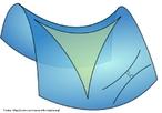 Imagem de um tri�ngulo representado sobre a superf�cie de uma sela.