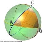 Imagem de um triângulo representado sobre a superfície de uma esfera obtido por três pontos de interseção (A, B e C) entre circunferências desenhadas sobre a superfície dessa esfera.